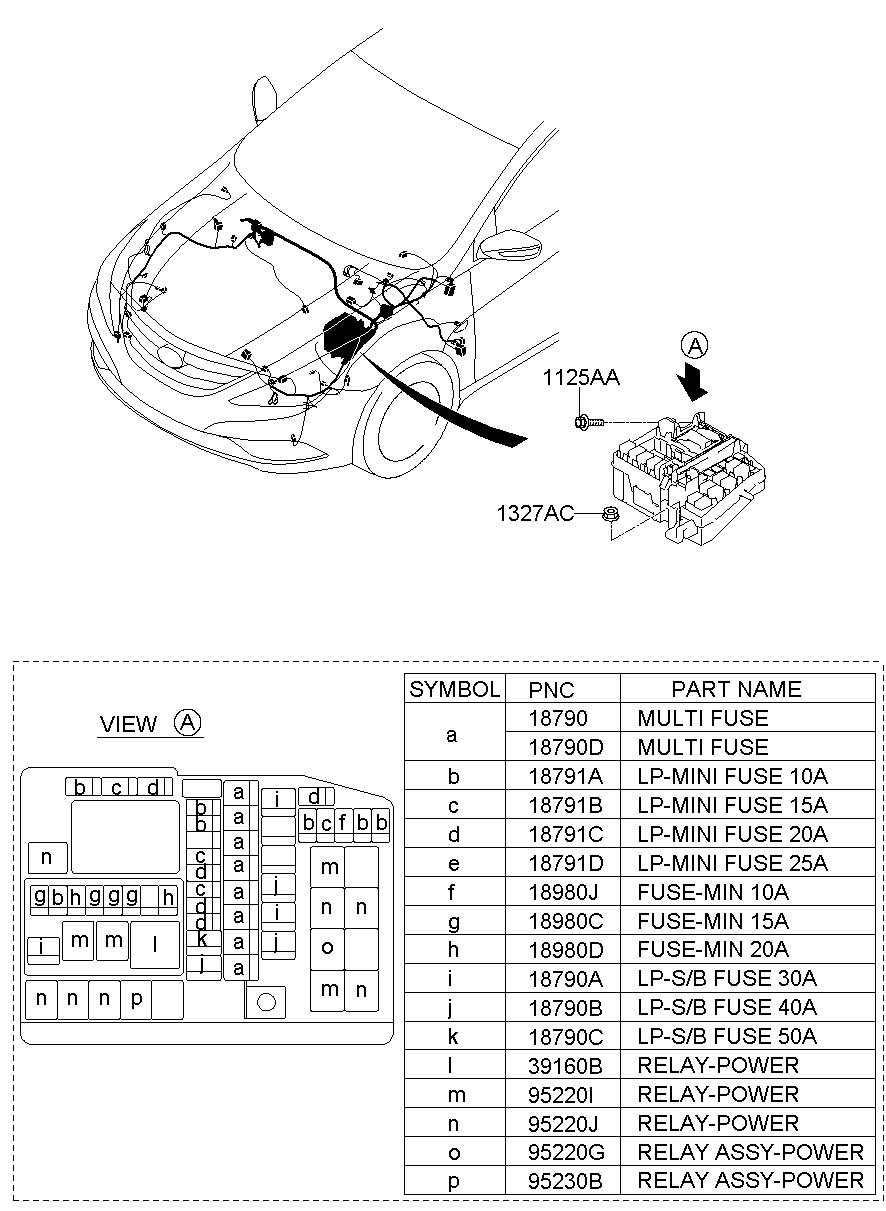 2011 Hyundai Sonata FUSE BOX (RELAY BOX) & WIRING