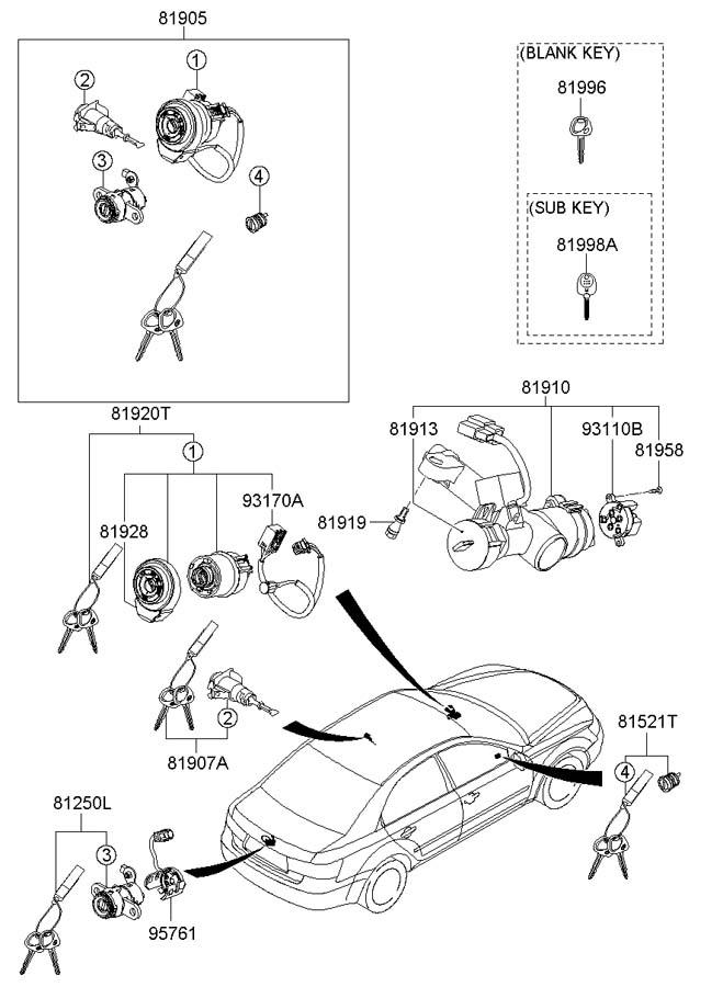 Hyundai Sonata KEY & CYLINDER SET