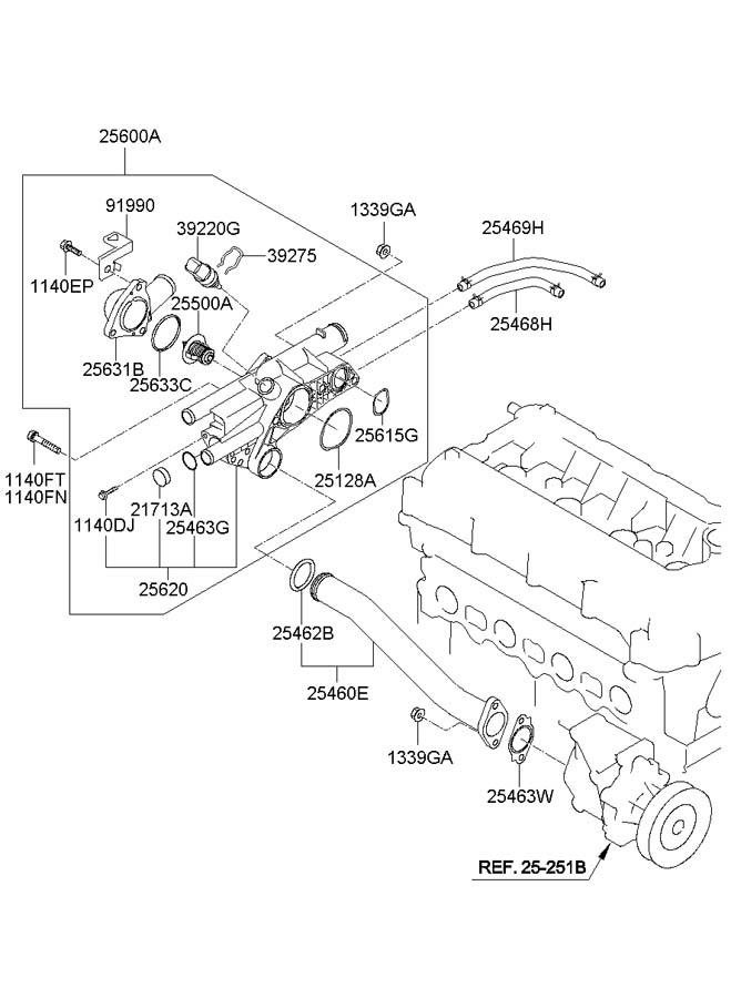 2009 Hyundai Sonata Thermostat assembly. Product