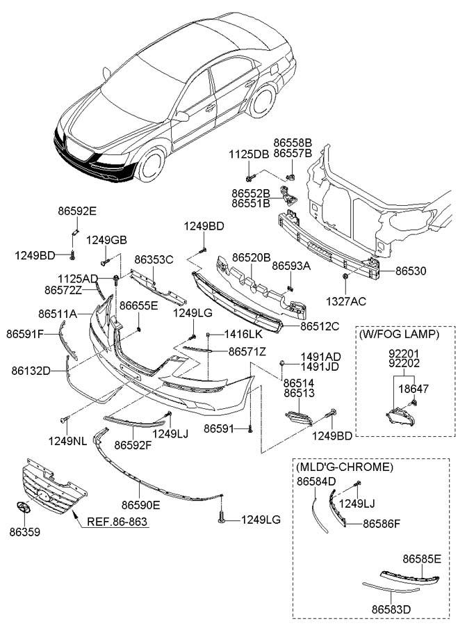 2009 Hyundai Sonata FRONT BUMPER