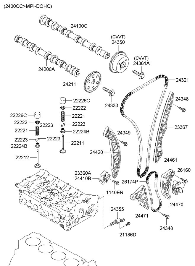 2007 Hyundai Sonata Oil control valve assembly