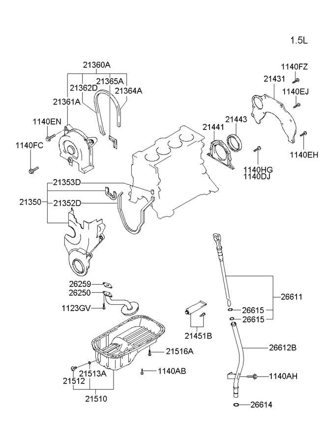 2010 Hyundai Accent BELT COVER & OIL PAN