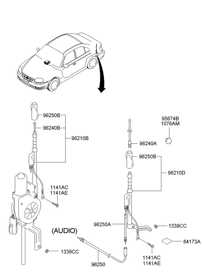 2001 Hyundai Accent ANTENNA