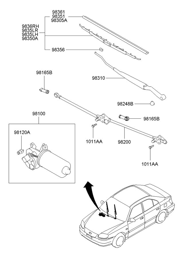 Service manual [Remove Wiper Arm 2002 Hyundai Accent