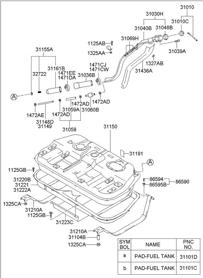 Fuel Tank: Fuel Tank Hyundai Santa Fe