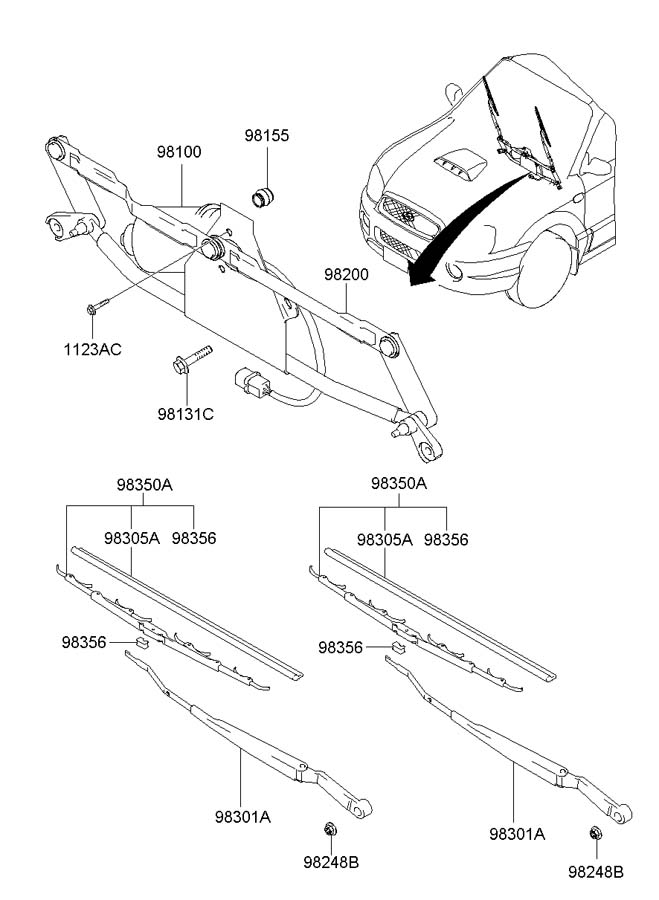 Hyundai Santa Fe Wiper Arm Parts Diagram. Hyundai. Auto