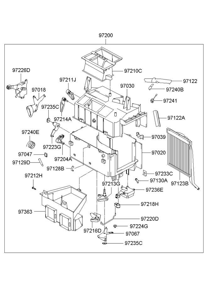 2003 Hyundai Santa Fe HEATER SYSTEM-HEATER UNIT