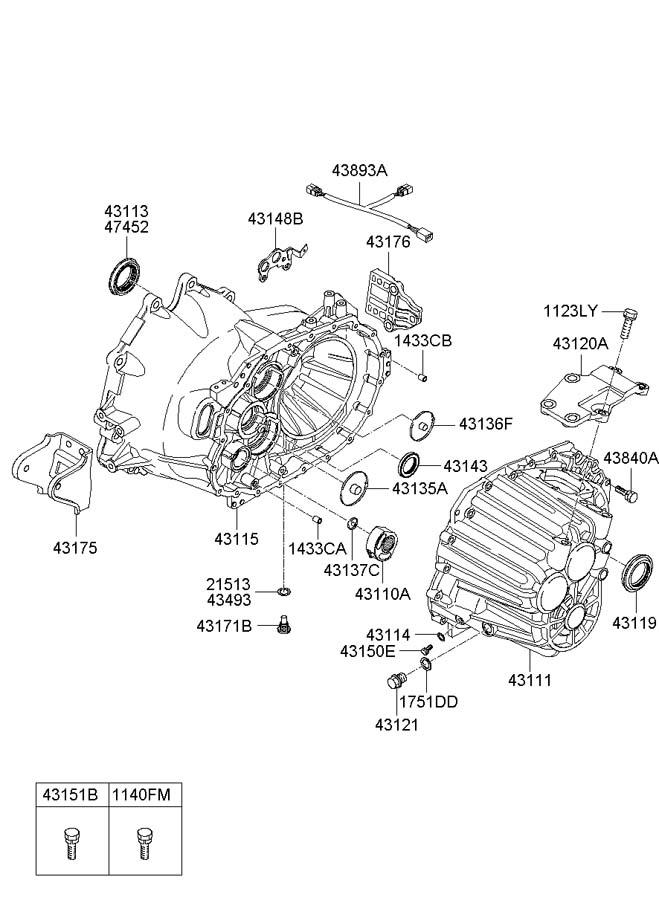 2007 Hyundai Santa Fe Gasket. Casemanual, transaxlemtm
