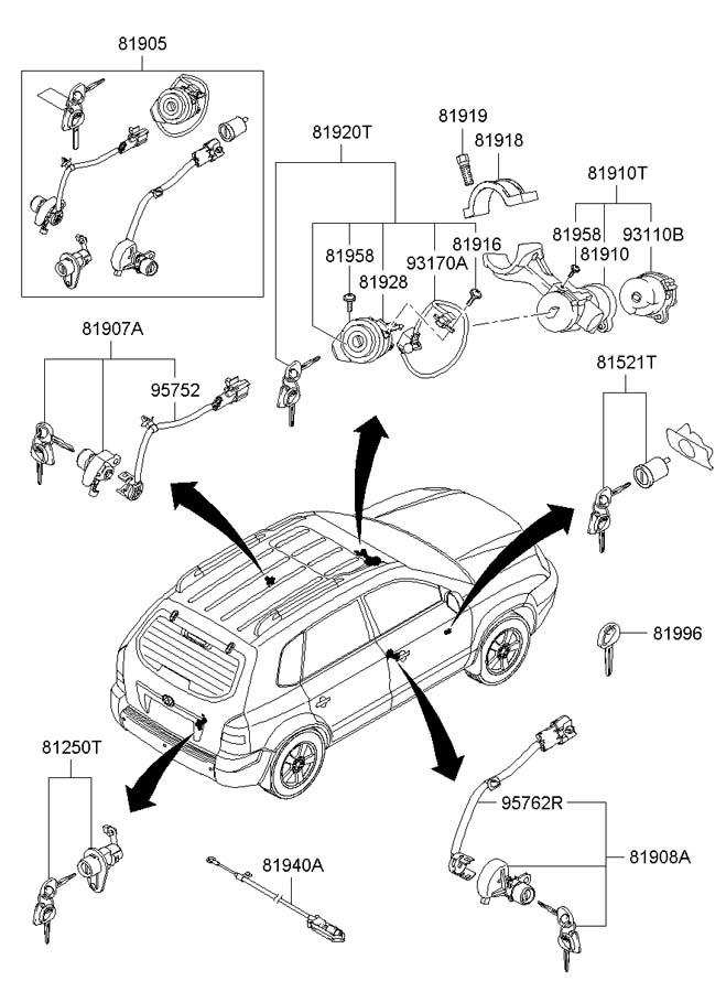Hyundai Tucson KEY & CYLINDER SET