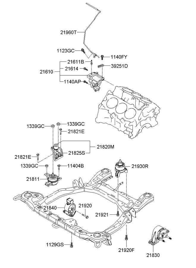 2007 Hyundai Santa Fe Manual Transmission Mount