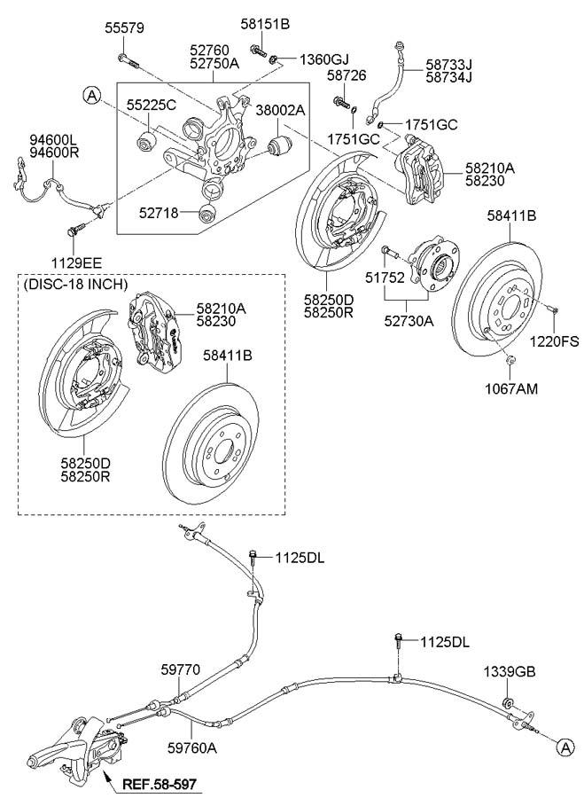 2010 Hyundai Pad kit rear ( rear (rr) ) disc brake. Brakes