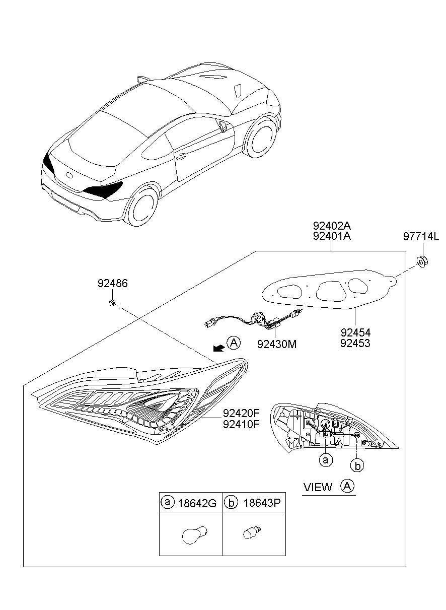 2013 Hyundai Genesis Coupe Tail Light Gasket (Left, Rear