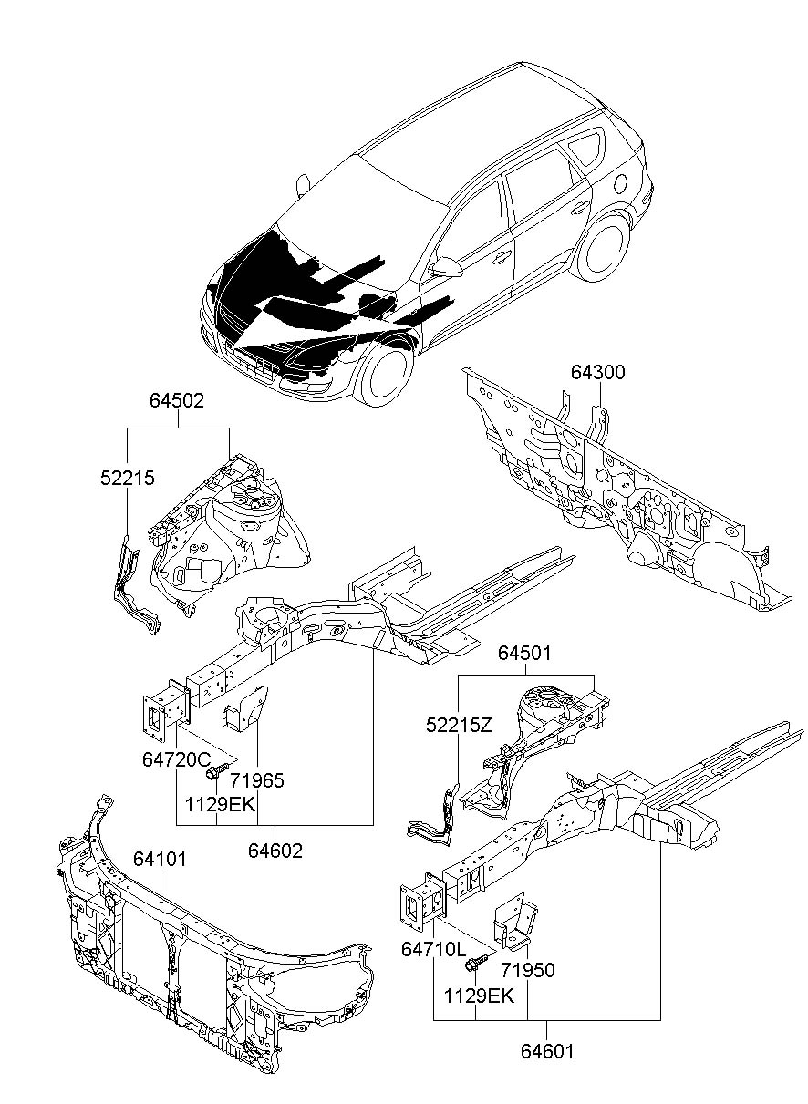2012 Hyundai Elantra FENDER APRON & RADIATOR SUPPORT PANEL