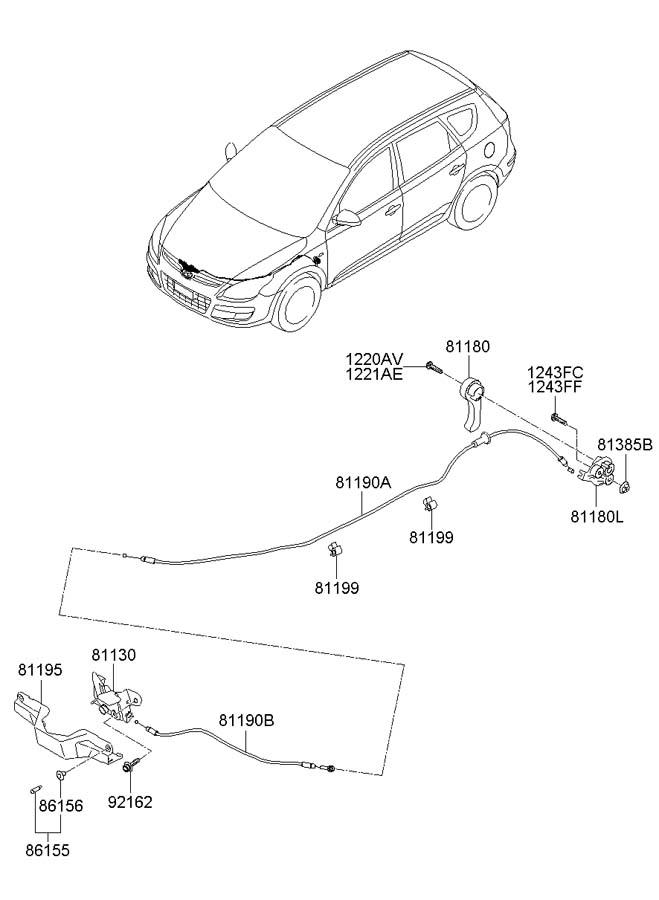 2010 Hyundai Elantra LOCKING SYSTEM-HOOD