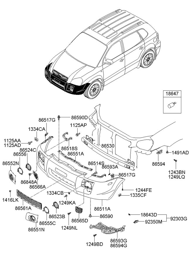 Hyundai Tucson Clip. Chromecr, mfr, systemrpas