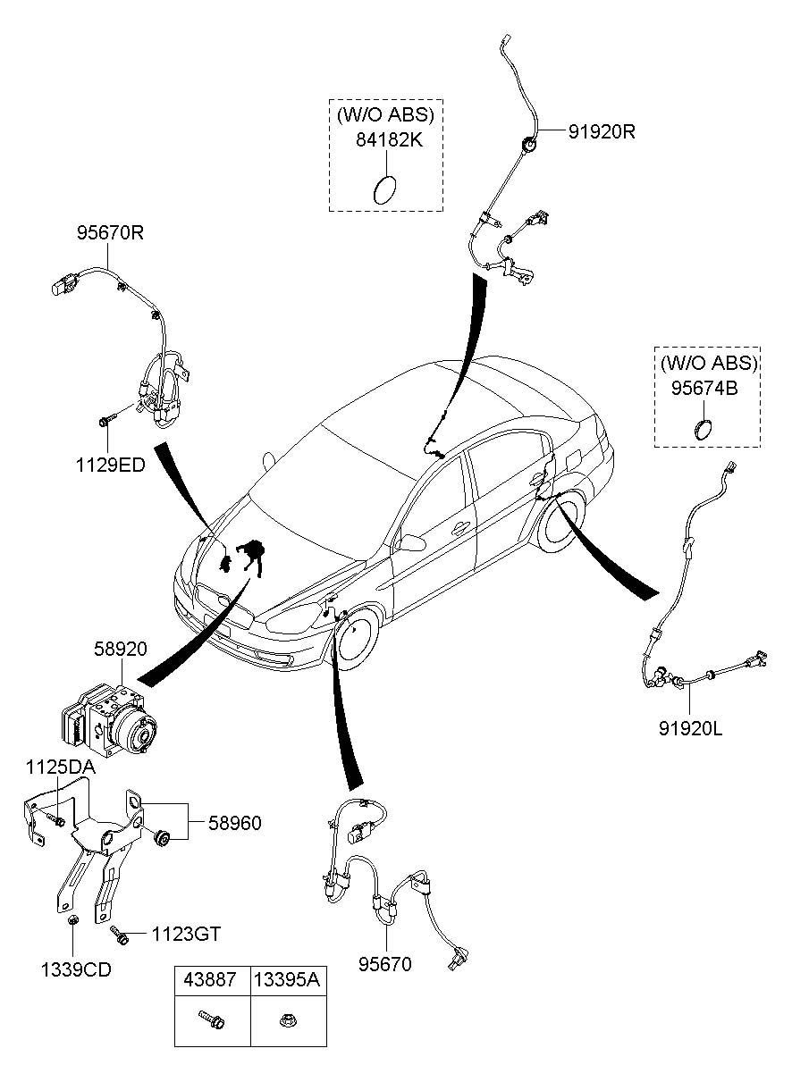 Hyundai Accent Plug. Antilockecm, antennarodblack