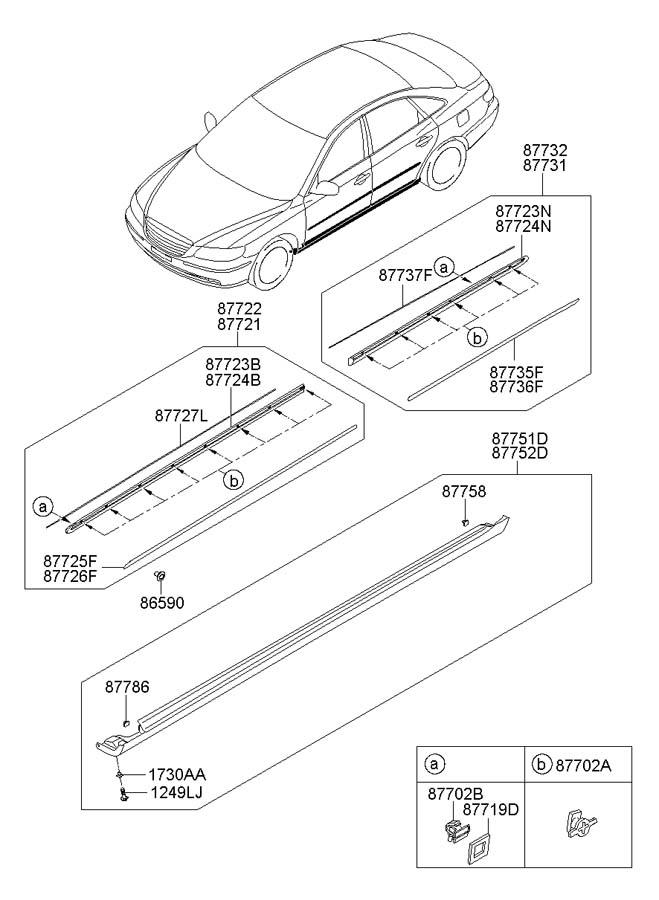 2008 Hyundai Azera Grommet. Mldgside, sillwide, sillnarrow