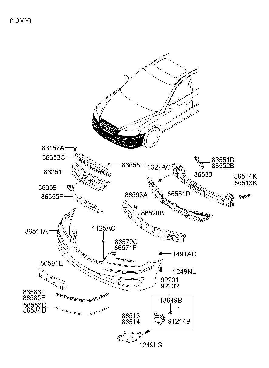 2006 Hyundai Azera FRONT BUMPER