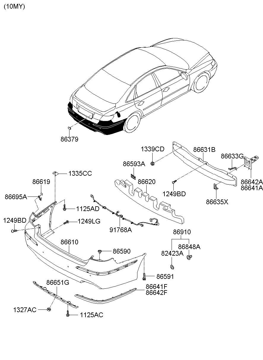 2007 Hyundai Azera Retainer. Singleblack, chromecr