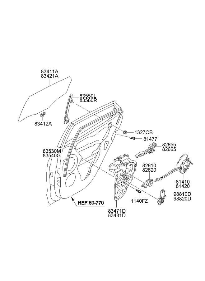 2012 Hyundai Tucson Cable assembly rear ( rear (rr) ) door