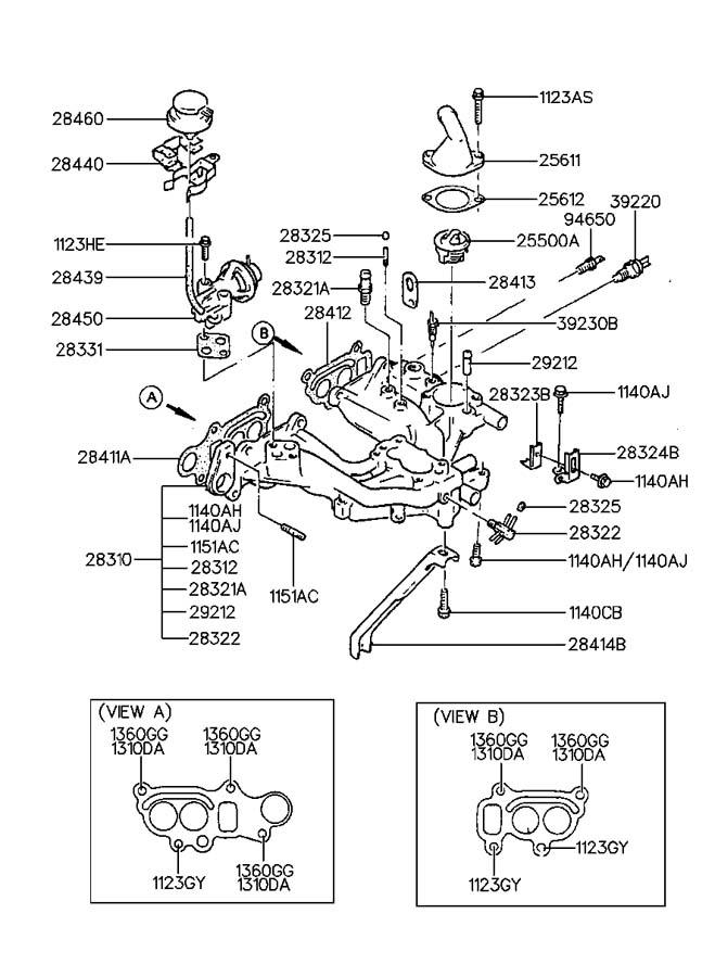1992 Hyundai Excel INTAKE MANIFOLD(CARB)