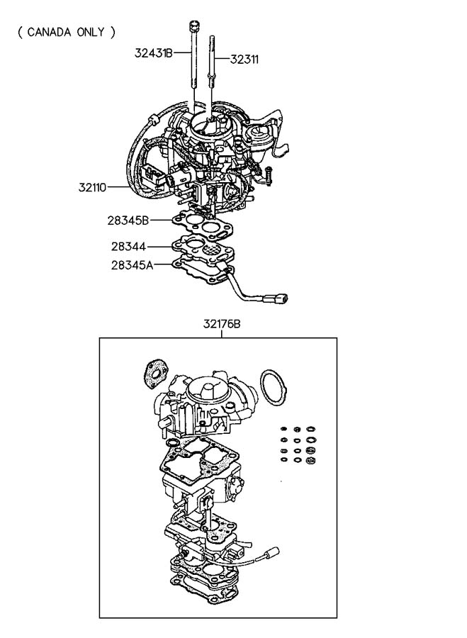 1992 Hyundai Excel CARBURETOR ASSEMBLY