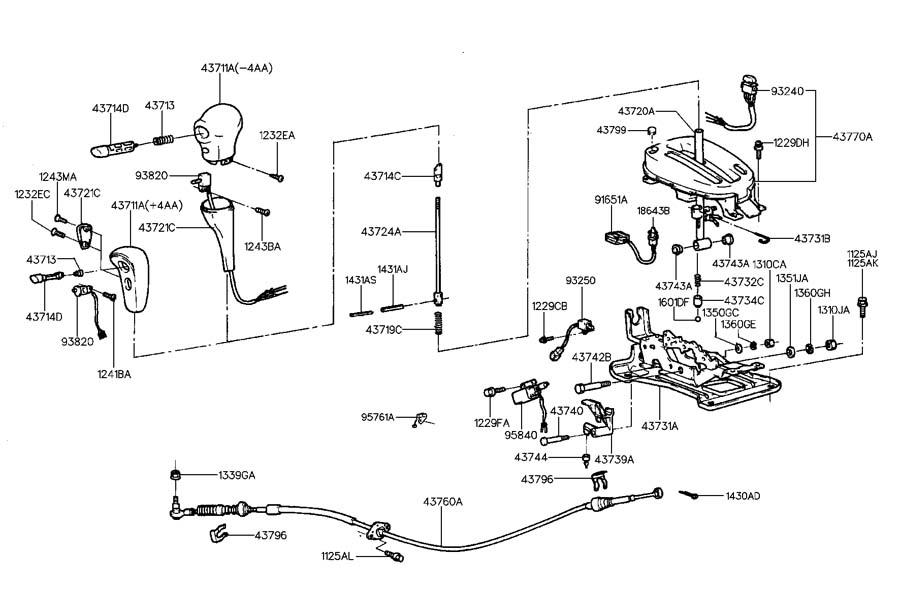 1999 Hyundai Tiburon SHIFT LEVER CONTROL(ATA)