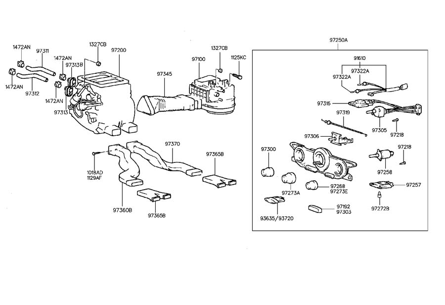 2000 Hyundai Tiburon HEATER SYSTEM-CONTROL & DUCT