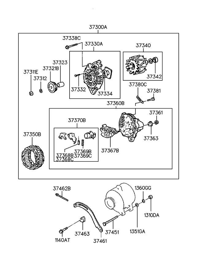 2011 Hyundai Accent Nut. Bracket. Adjust. Alternator