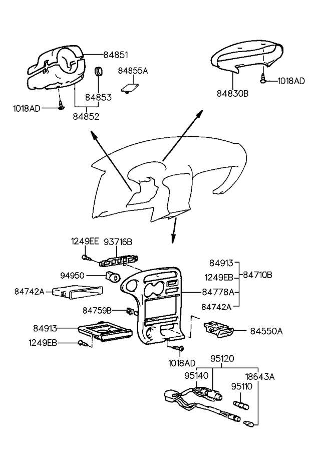 2000 Hyundai Elantra FRONT DASH PANEL (DASHBOARD) LOWER