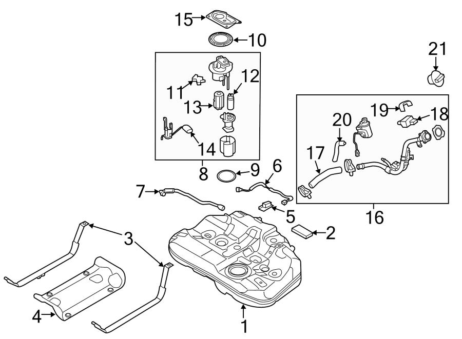 2015 Hyundai Sonata Filter & canister valve assembly