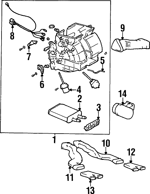 Hyundai Elantra Hvac heater core case assembly. Systemcont