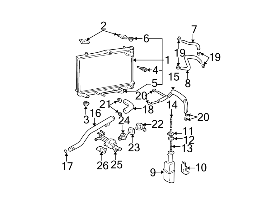 Hyundai Elantra Engine Coolant Hose. 2.0 LITER. 2.0 LITER