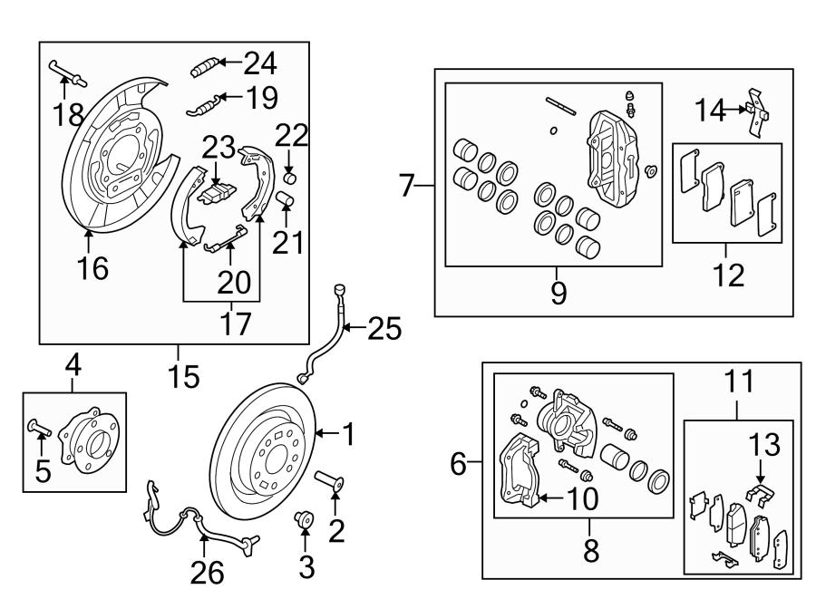 2013 Hyundai Pad kit rear ( rear (rr) ) disc brake. Brakes
