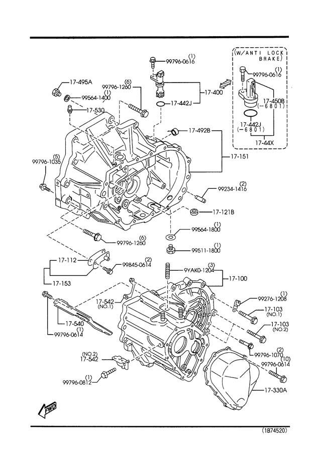 1998 Mazda Protege MANUAL TRANSMISSION CASE