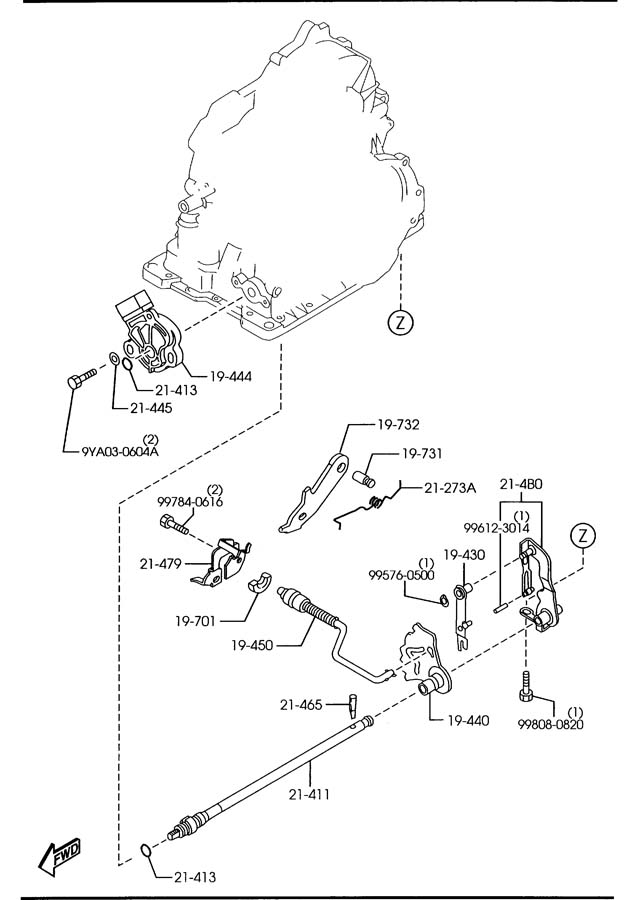 Mazda AUTOMATIC TRANSMISSION MANUAL LINKAGE SYSTEM