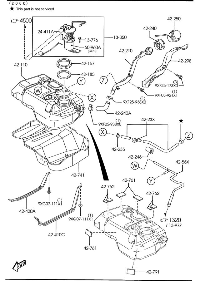 Mazda Tribute Hose (w/pressure sensor). Wpressure
