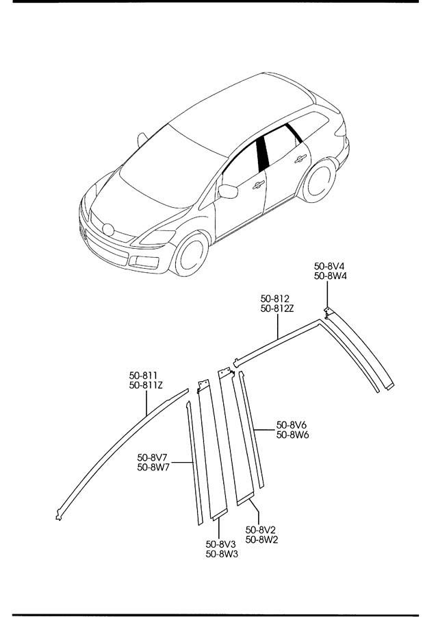 Mazda CX-7 Stripe no.4 right (r), body side. Stripes