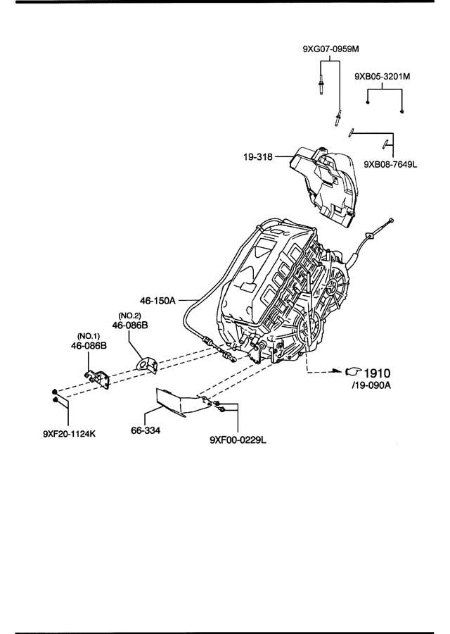 1989 Mazda Shift Control Cable. Tribute HEV. CVT