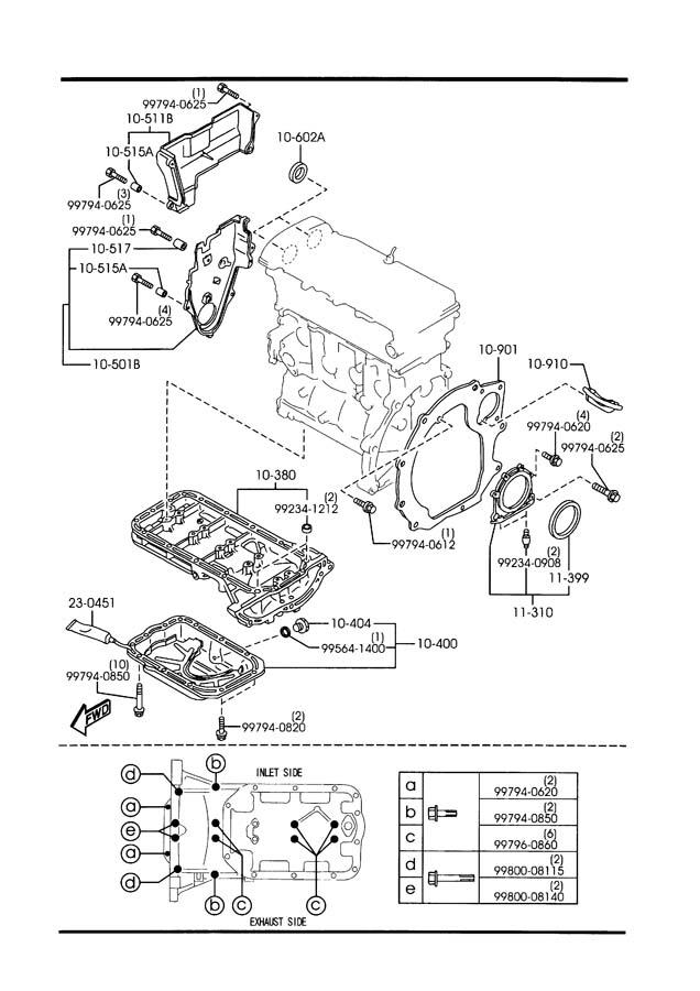 Mazda 626 OIL PAN & TIMING COVER (2000CC)