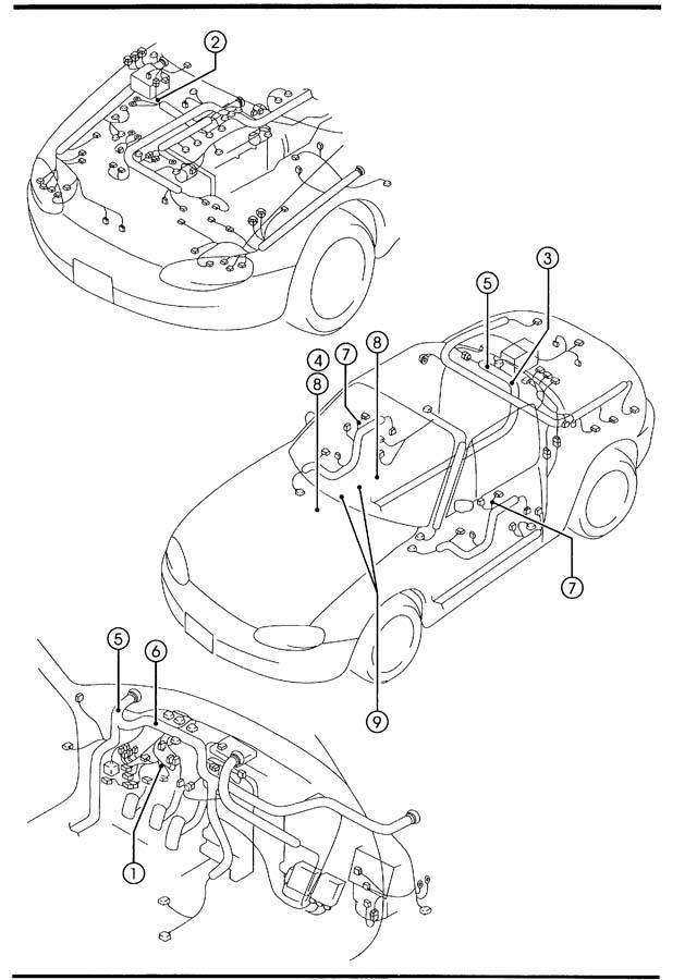 2002 Mazda Miata WIRING HARNESS CLAMPS