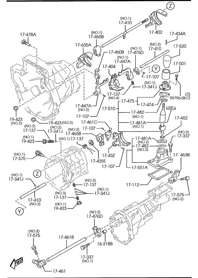 Mazda Miata MANUAL TRANSMISSION CHANGE CONTROL SYSTEM (6
