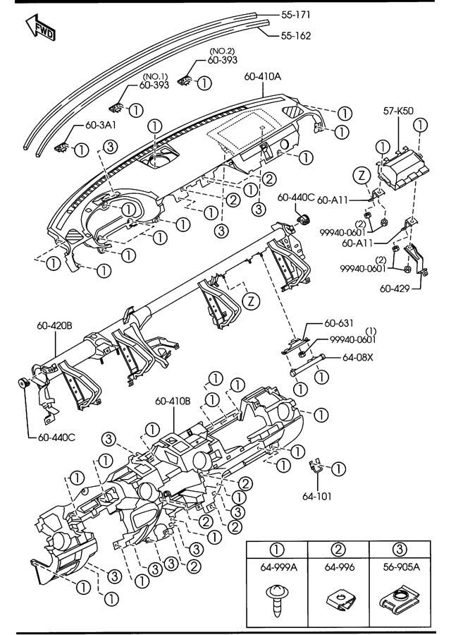 2007 Mazda RX-8 Glove Box Support. Glove. Box. Support