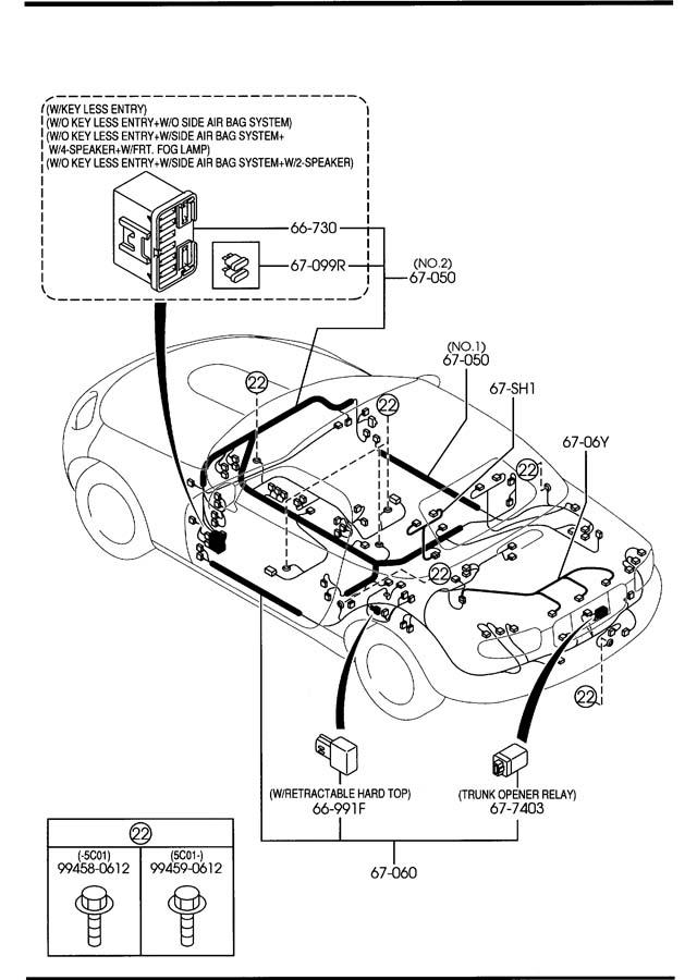 Mazda Miata FRONT & REAR WIRING HARNESSES