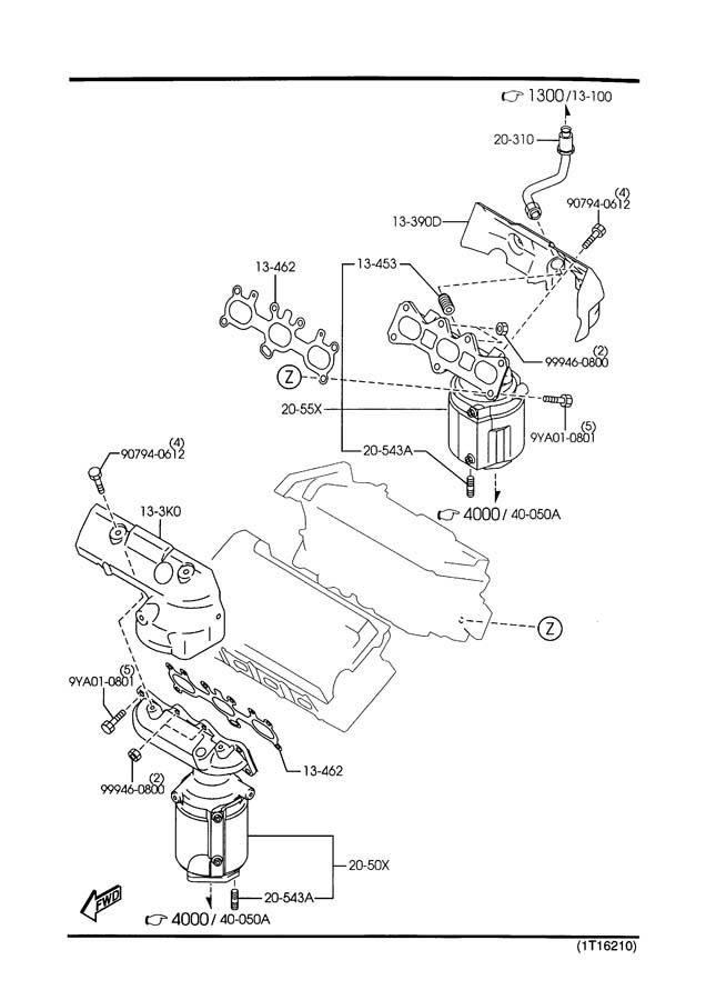 2002 Mazda Millenia Exhaust Manifold. 2.5 LITER, rear