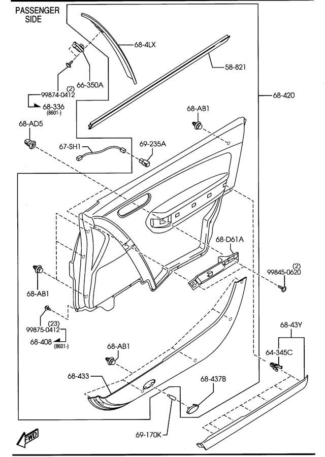 Mazda FRONT DOOR TRIMS & RELATED PARTS