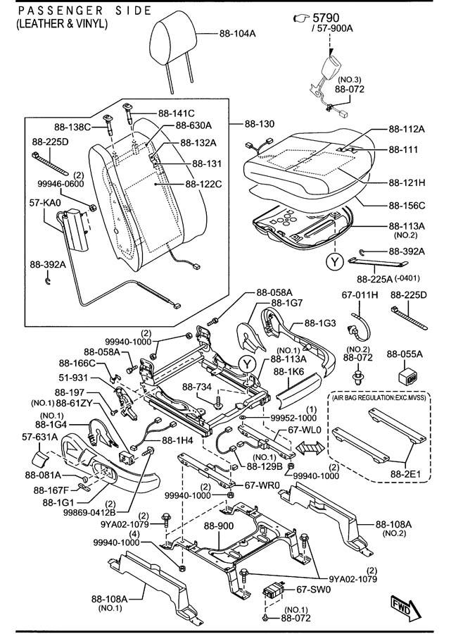 2012 Mazda CX-9 Unit, weight sensor. Regulationmvss