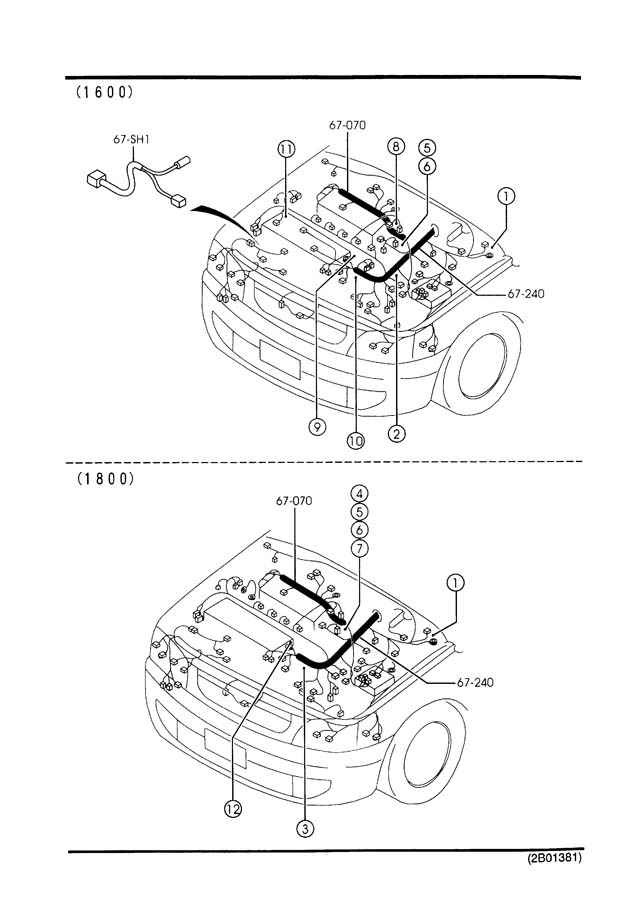 Mazda ENGINE & TRANSMISSION WIRING HARNESSES