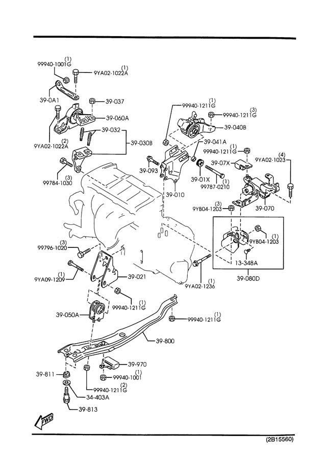 2000 Mazda Protege ENGINE & TRANSMISSION MOUNTINGS (MANUAL