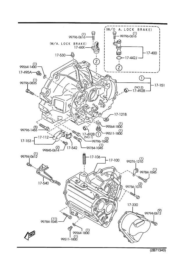 2002 Mazda Protege 5 MANUAL TRANSMISSION CASE (2000CC)